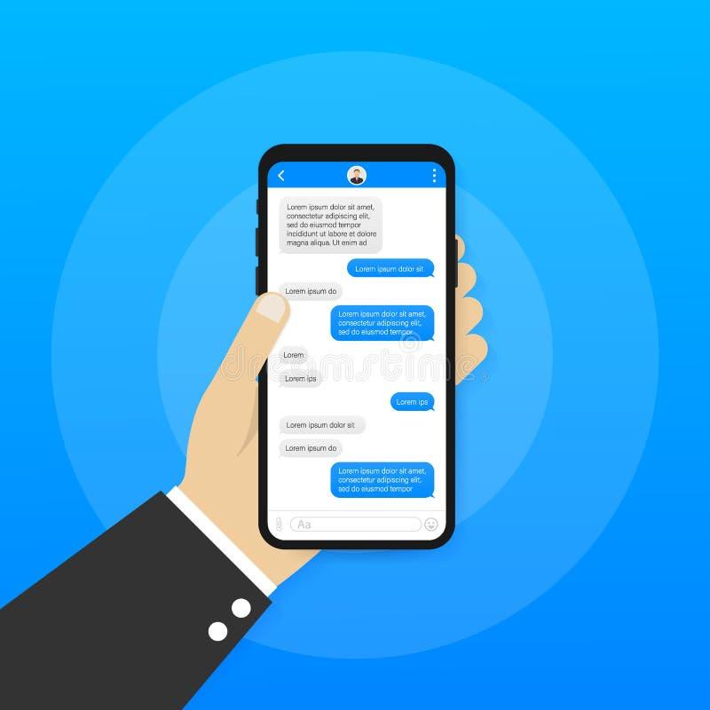 Εφαρμογή διεπαφών συνομιλίας με το παράθυρο διαλόγου Καθαρή κινητή έννοια σχεδίου UI Αγγελιοφόρος Sms r διανυσματική απεικόνιση
