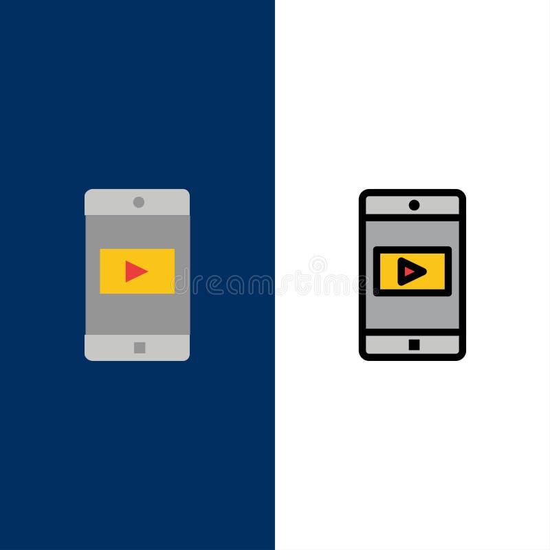 Εφαρμογή, κινητή, κινητή εφαρμογή, τηλεοπτικά εικονίδια Επίπεδος και γραμμή γέμισε το καθορισμένο διανυσματικό μπλε υπόβαθρο εικο διανυσματική απεικόνιση