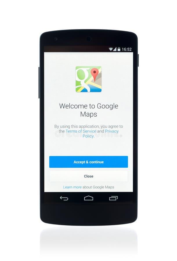 Εφαρμογή του Google Maps στο δεσμό 5 Google στοκ φωτογραφία με δικαίωμα ελεύθερης χρήσης