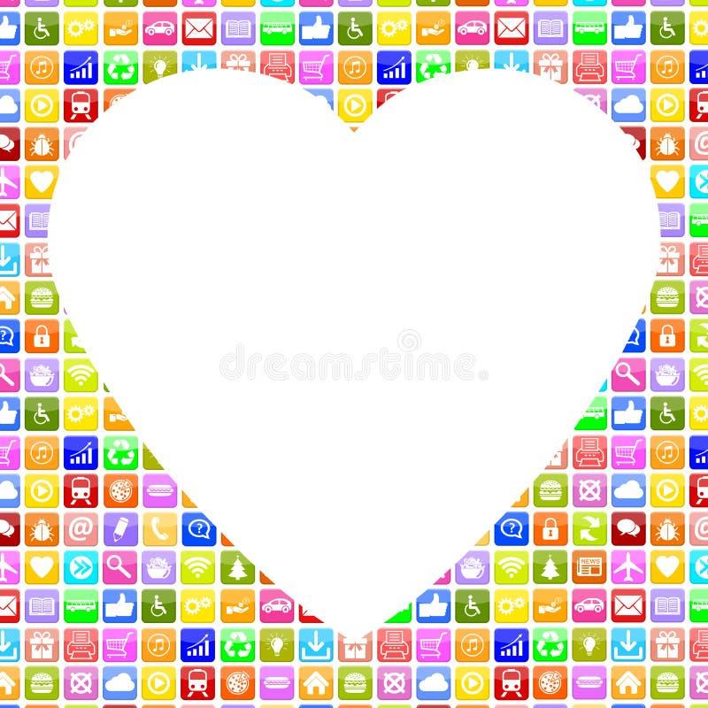 Εφαρμογή Apps App που ψάχνει το συνεργάτη και την αγάπη on-line στον οικότροφο διανυσματική απεικόνιση