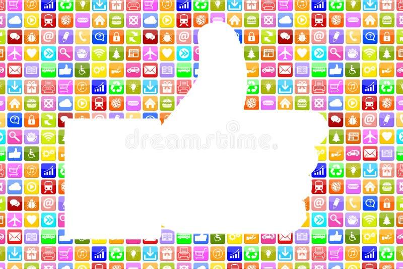 Εφαρμογή Apps App όπως τους αντίχειρες επάνω στο κοινωνικό δίκτυο μέσων εικονιδίων sm ελεύθερη απεικόνιση δικαιώματος