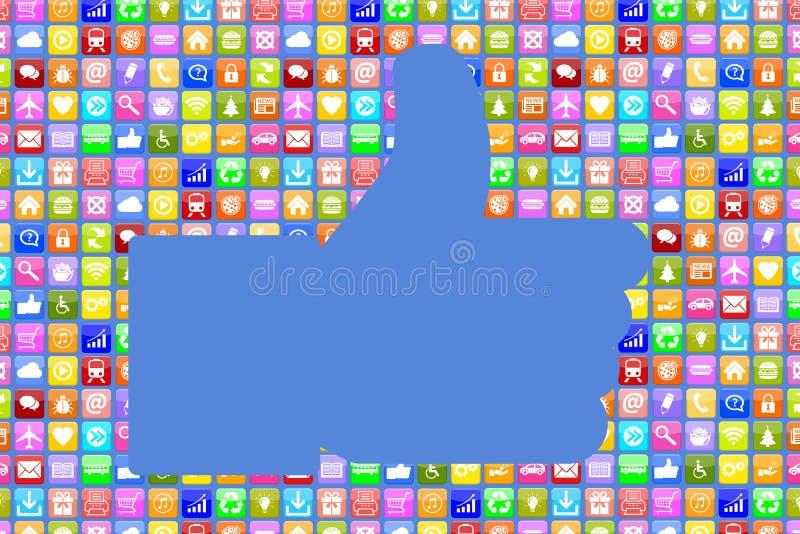 Εφαρμογή Apps App όπως το κοινωνικό δίκτυο μέσων κινητός ή smar διανυσματική απεικόνιση