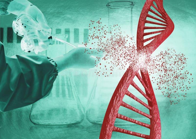 Εφαρμοσμένη μηχανική και γενετική έκδοση μέσω της τεχνικής Crispr Να αναλύσει αλυσίδων DNA ελεύθερη απεικόνιση δικαιώματος