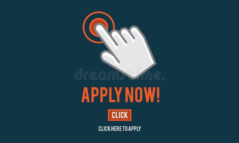 Εφαρμόστε τώρα την έννοια απασχόλησης ανθρώπινων δυναμικών αίτησης διανυσματική απεικόνιση
