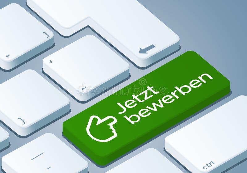 Εφαρμόστε τώρα το κλειδί - πληκτρολογήστε με την τρισδιάστατη απεικόνιση έννοιας - γερμανικός-μετάφραση: Το Jetzt διανυσματική απεικόνιση
