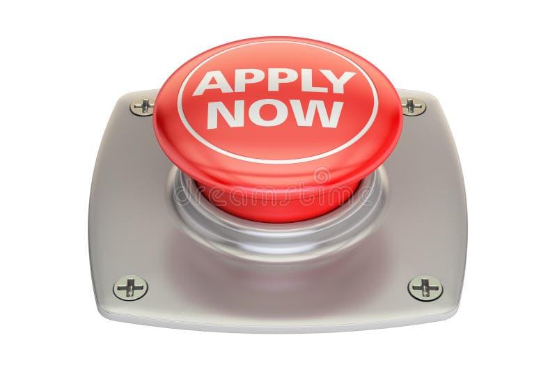 Εφαρμόστε τώρα το κόκκινο κουμπί, τρισδιάστατη απόδοση ελεύθερη απεικόνιση δικαιώματος