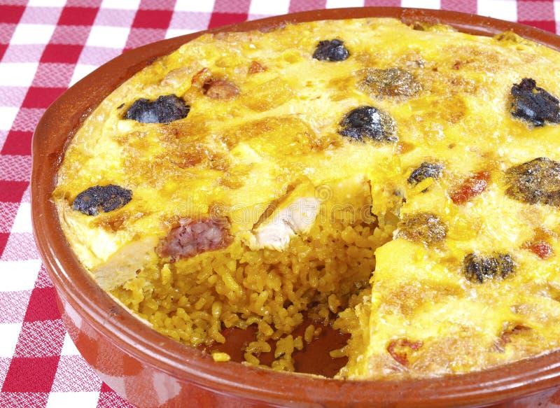 Εφελκιδώδες costra Arroz ρυζιού â con στοκ εικόνες
