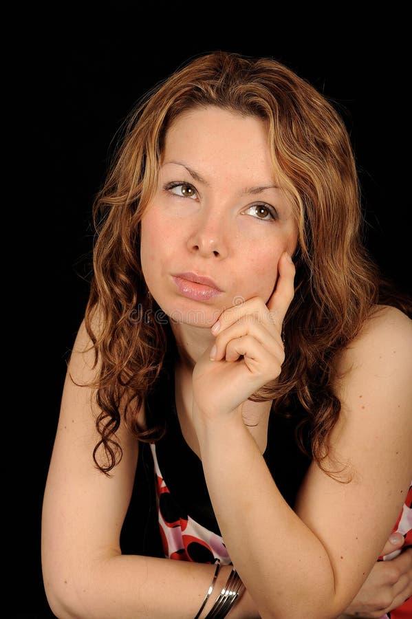 εφηβική σκεπτόμενη γυναίκα στοκ φωτογραφία με δικαίωμα ελεύθερης χρήσης