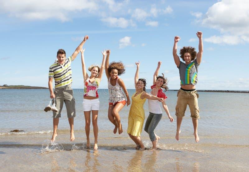 Εφηβικοί φίλοι που έχουν τη διασκέδαση στην παραλία στοκ εικόνα με δικαίωμα ελεύθερης χρήσης