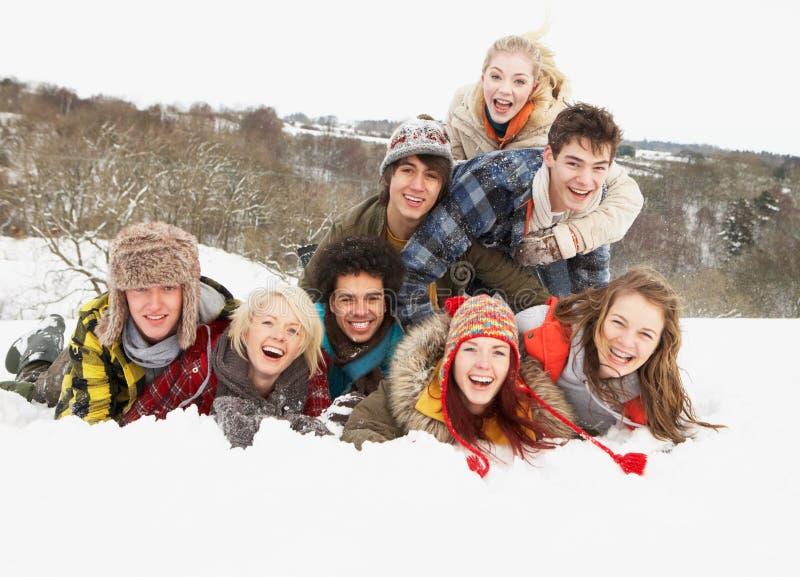 Εφηβικοί φίλοι που έχουν τη διασκέδαση στο χιονώδες τοπίο στοκ εικόνες