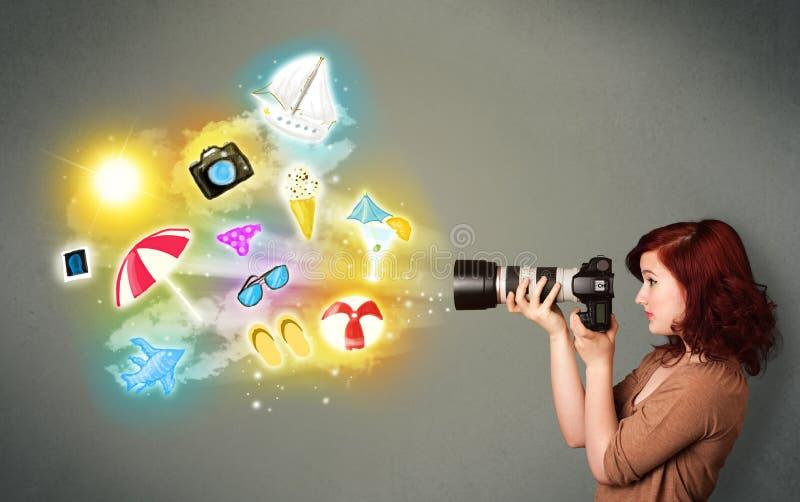 Εφηβικός φωτογράφος που κάνει τις φωτογραφίες χρωματισμένων των διακοπές εικονιδίων διανυσματική απεικόνιση