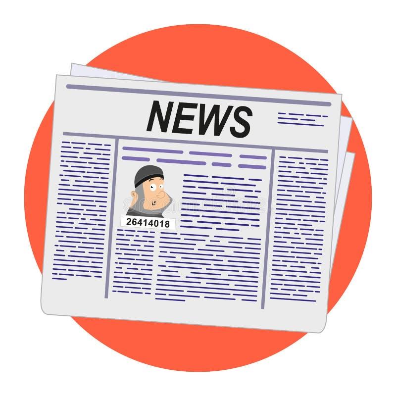 Εφημερίδα Ειδήσεις για τη διαφυγή ενός κλέφτη και ενός εγκληματία από τη φυλακή ζωτικότητας διάνυσμα χρήσης αποθεμάτων απεικόνιση διανυσματική απεικόνιση