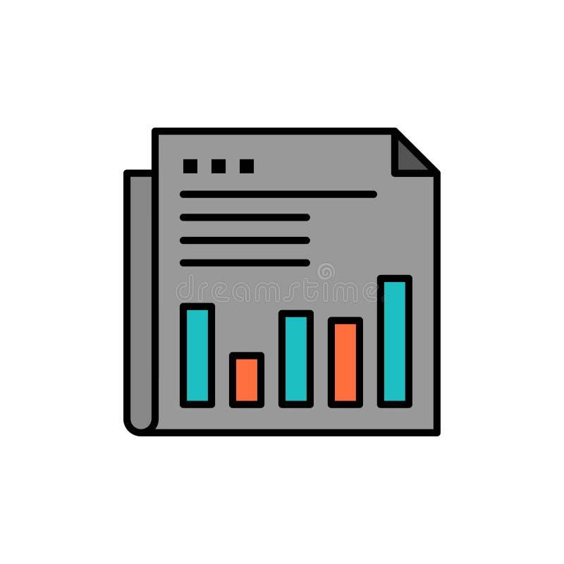 Εφημερίδα, επιχείρηση, οικονομική, αγορά, ειδήσεις, έγγραφο, εικονίδιο χρονικού επίπεδο χρώματος Διανυσματικό πρότυπο εμβλημάτων  απεικόνιση αποθεμάτων