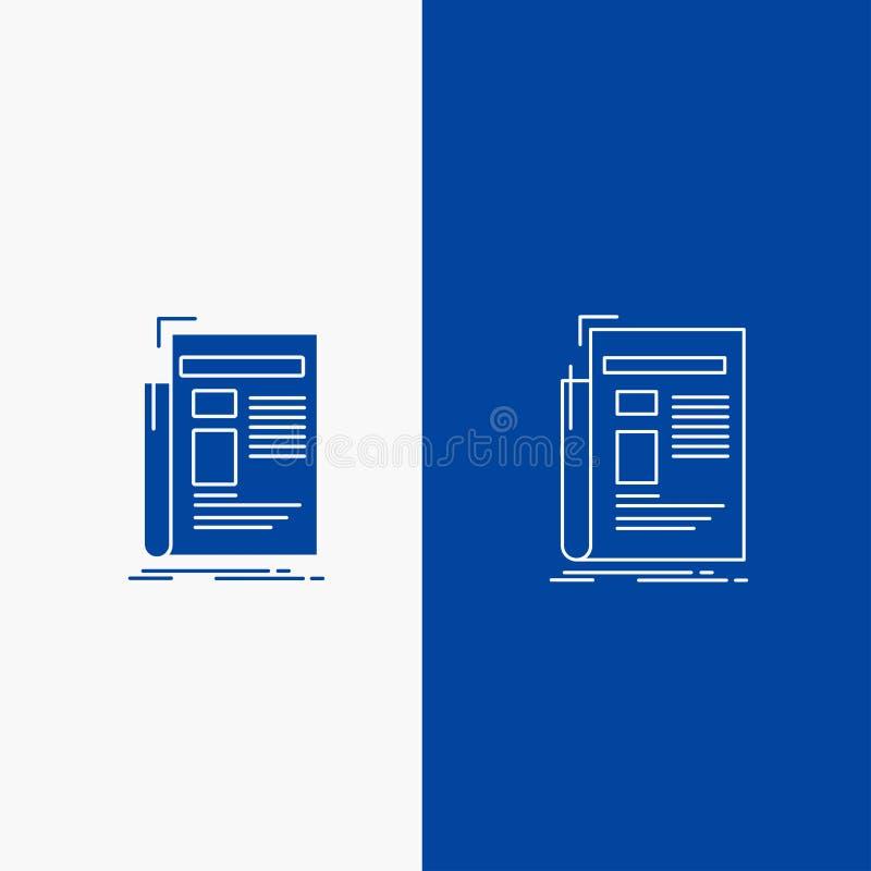 Εφημερίδα, μέσα, ειδήσεις, ενημερωτικό δελτίο, γραμμή εφημερίδων και κουμπί Ιστού Glyph στο μπλε κάθετο έμβλημα χρώματος για UI κ απεικόνιση αποθεμάτων