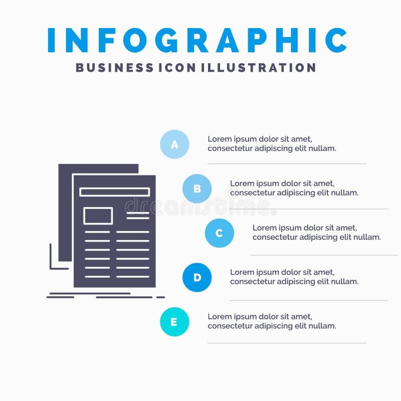 Εφημερίδα, μέσα, ειδήσεις, ενημερωτικό δελτίο, πρότυπο Infographics εφημερίδων για τον ιστοχώρο και παρουσίαση Γκρίζο εικονίδιο G διανυσματική απεικόνιση