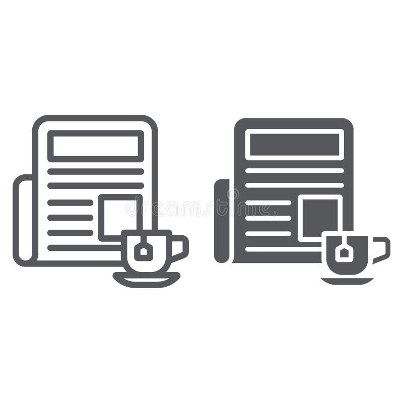 Εφημερίδα με τη γραμμή φλυτζανιών και glyph εικονίδιο, πρωί και ειδήσεις, σημάδι ημερήσιων εφημερίδων ειδήσεων, διανυσματική γραφ απεικόνιση αποθεμάτων