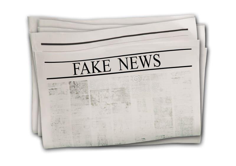 Εφημερίδα με τις πλαστές ειδήσεις τίτλων που απομονώνονται στο άσπρο υπόβαθρο ελεύθερη απεικόνιση δικαιώματος