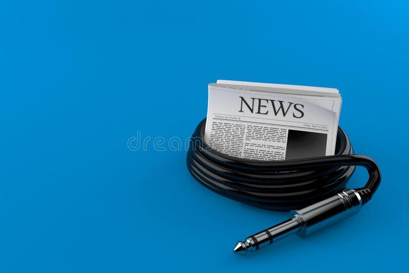 Εφημερίδα με το ακουστικό καλώδιο απεικόνιση αποθεμάτων