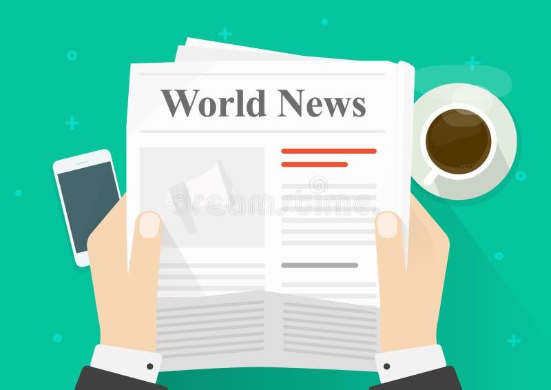 Εφημερίδα στη διανυσματική απεικόνιση χεριών, επίπεδες ειδήσεις ανάγνωσης προσώπων κινούμενων σχεδίων στην εφημερίδα ενώ τοπ άποψ διανυσματική απεικόνιση