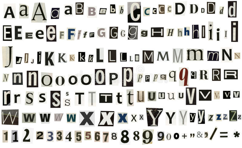 Εφημερίδα, αλφάβητο περιοδικών με τους αριθμούς και τα σύμβολα στοκ εικόνες