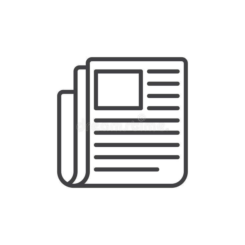 Εφημερίδα, εικονίδιο γραμμών ειδήσεων, διανυσματικό σημάδι περιλήψεων, γραμμικό εικονόγραμμα ύφους που απομονώνεται στο λευκό ελεύθερη απεικόνιση δικαιώματος