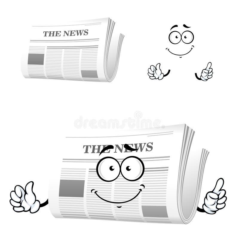 Εφημερίδα κινούμενων σχεδίων με τη χειρονομία προσοχής απεικόνιση αποθεμάτων