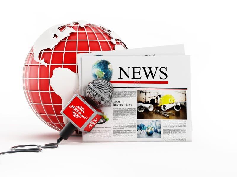 Εφημερίδα, μικρόφωνο και σφαίρα που απομονώνονται στο άσπρο υπόβαθρο τρισδιάστατη απεικόνιση διανυσματική απεικόνιση