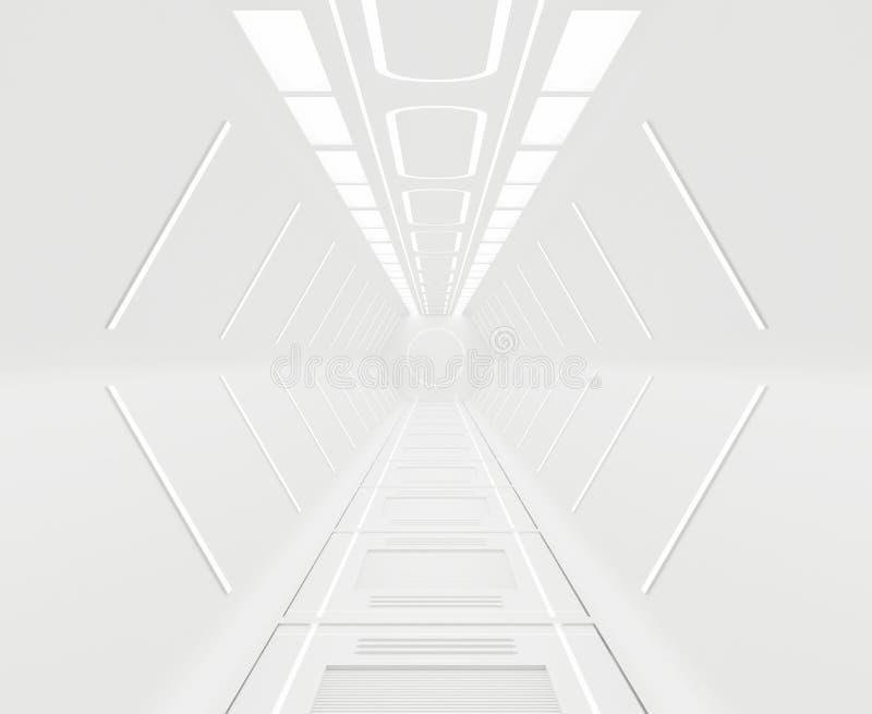 Εφοδιασμένος, φουτουριστικός, άσπρο εσωτερικό υπόβαθρο διαστημοπλοίων ελεύθερη απεικόνιση δικαιώματος