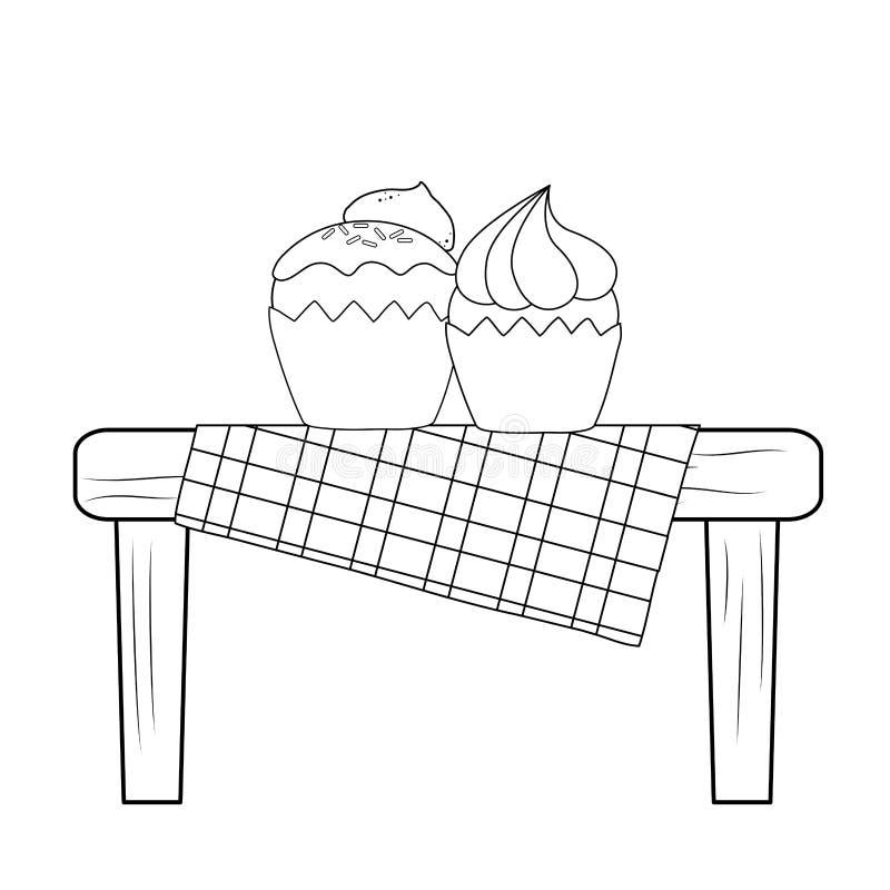 Εύγευστα γλυκά cupcakes στο επιτραπέζιο πικ-νίκ διανυσματική απεικόνιση