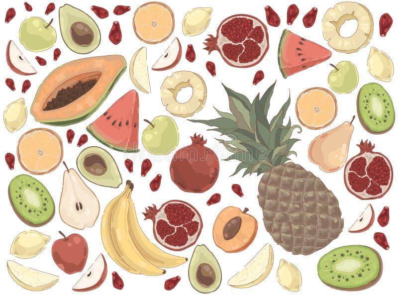 Εύγευστα θερινά τρόφιμα, καρπούζι, ανανάς, μπανάνα, μήλο, αχλάδι, μάγκο, πορτοκάλι, γρανάτης, οργανικό σύνολο διατροφής απεικόνιση αποθεμάτων