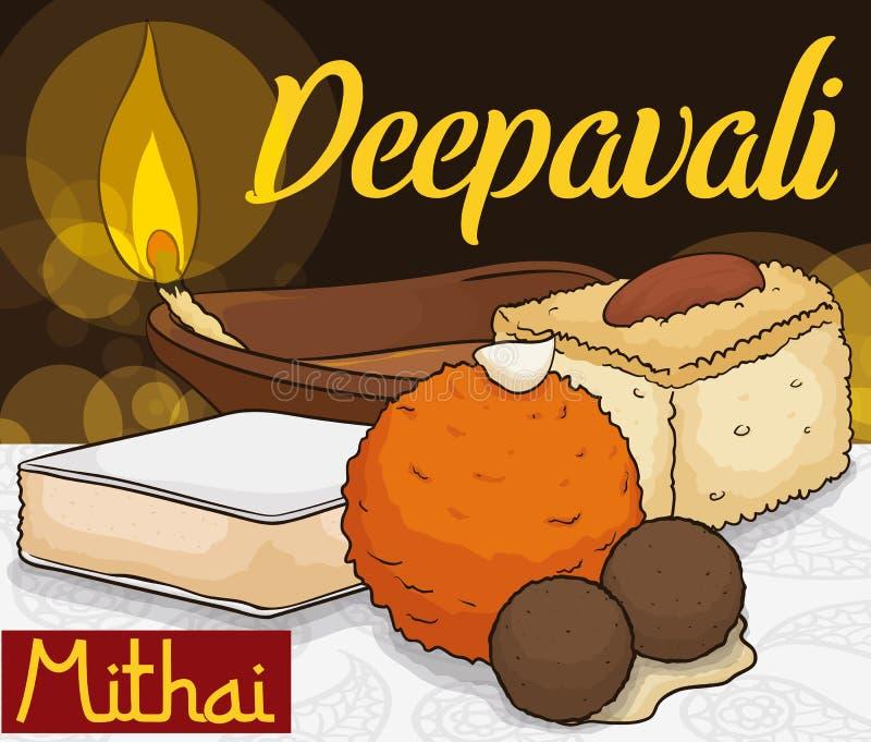Εύγευστα παραδοσιακά επιδόρπια για τον εορτασμό Diwali και το λαμπτήρα Diya, διανυσματική απεικόνιση ελεύθερη απεικόνιση δικαιώματος