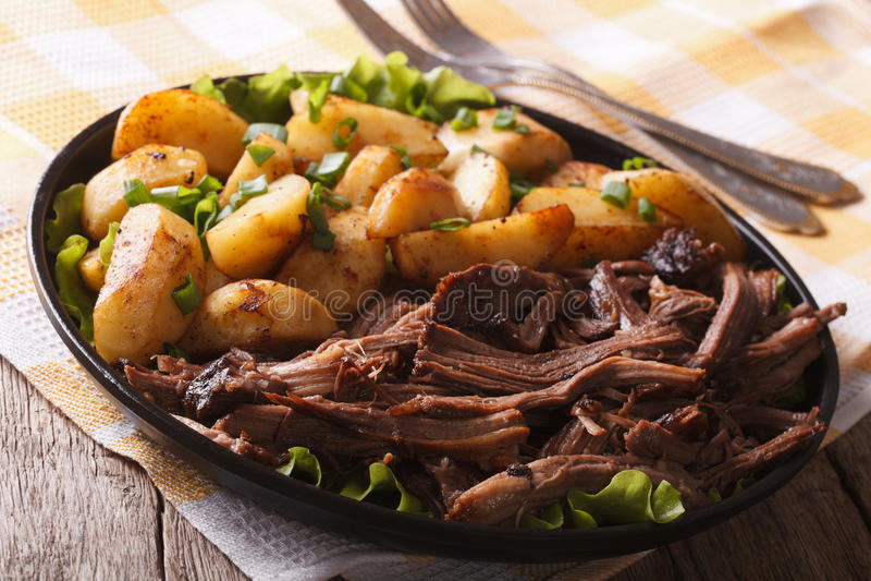 Εύγευστα τρόφιμα: Τργμένο χοιρινό κρέας και τηγανισμένη κινηματογράφηση σε πρώτο πλάνο πατατών horizonta στοκ εικόνα