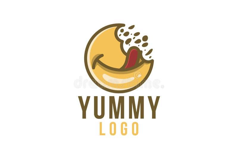 εύγευστα τρόφιμα, yummy έμπνευση σχεδίων λογότυπων που απομονώνεται στο άσπρο υπόβαθρο απεικόνιση αποθεμάτων