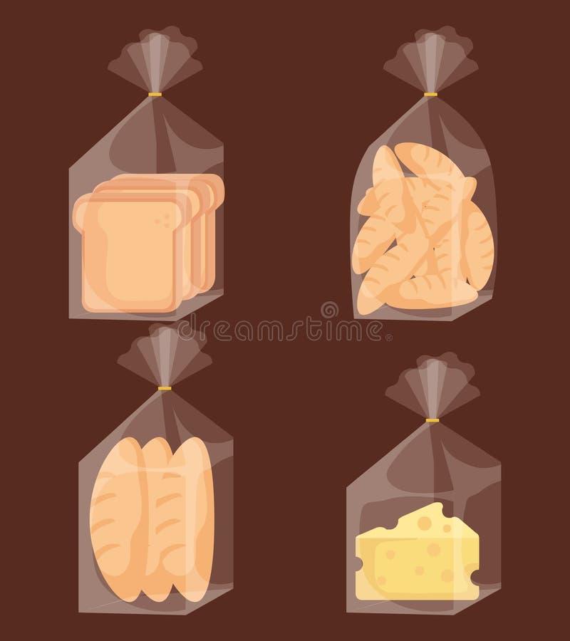 Εύγευστα τσάντες και τυρί ψωμιού ελεύθερη απεικόνιση δικαιώματος