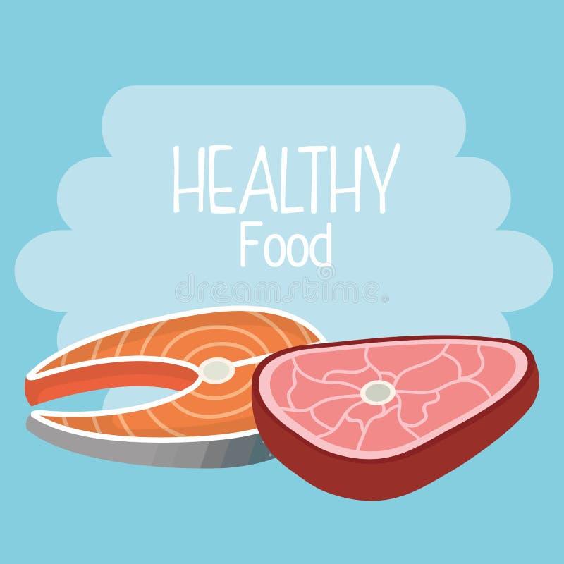 Εύγευστα υγιή τρόφιμα κρέατος σολομών και βόειου κρέατος ελεύθερη απεικόνιση δικαιώματος