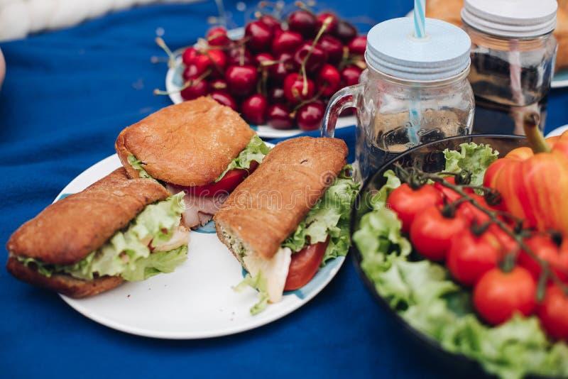 Εύγευστα φρέσκα λαχανικά στο πιάτο Κινηματογράφηση σε πρώτο πλάνο των υγιών λαχανικών eco στο πιάτο Θερινό πικ-νίκ veggies Σαλάτα στοκ εικόνα