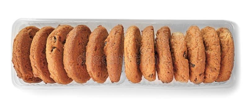 Εύγευστα oatmeal μπισκότα με τις σταφίδες στο πακέτο στοκ εικόνα με δικαίωμα ελεύθερης χρήσης