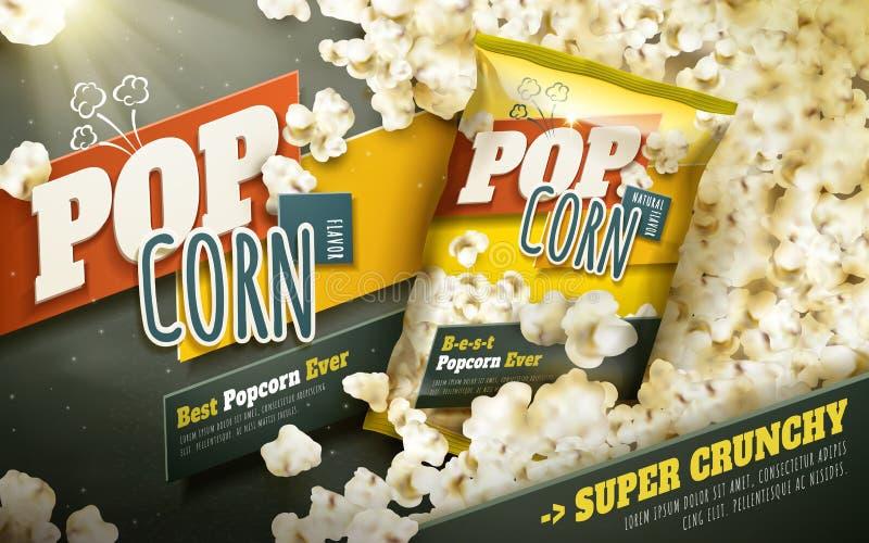 Εύγευστες popcorn αγγελίες απεικόνιση αποθεμάτων