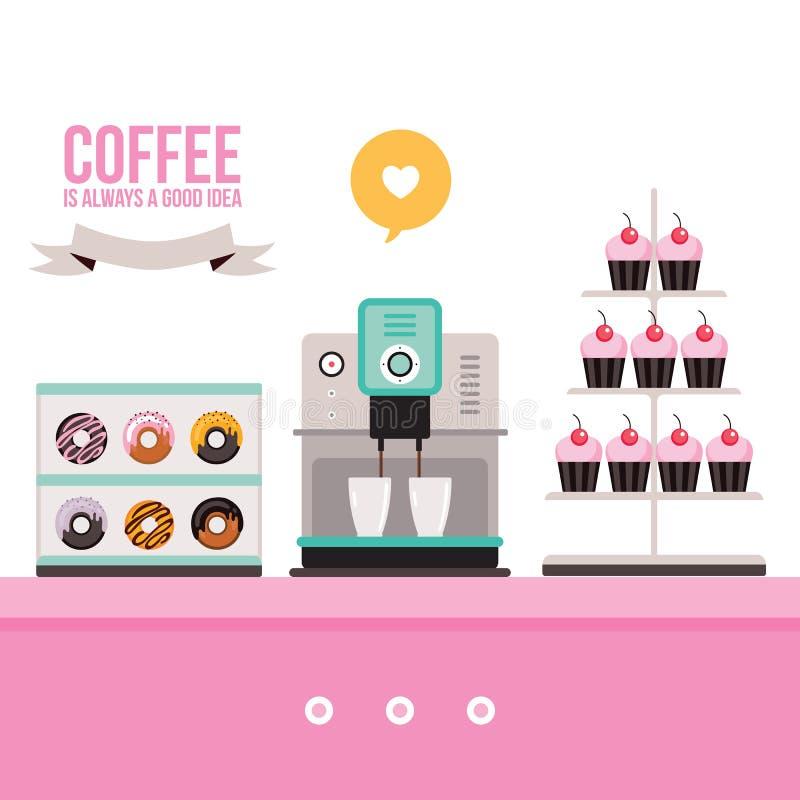 Εύγευστη γλυκιά μηχανή καφέ Donuts Cupcakes επιδορπίων στο ρόδινο πίνακα ελεύθερη απεικόνιση δικαιώματος