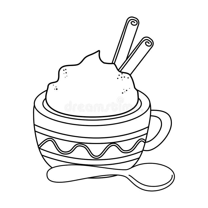 Εύγευστη κούπα σοκολάτας με το κουτάλι απεικόνιση αποθεμάτων