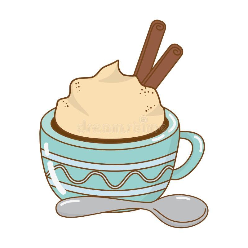 Εύγευστη κούπα σοκολάτας με το κουτάλι διανυσματική απεικόνιση
