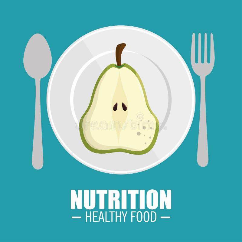 εύγευστη μισή αχλαδιών έννοια τροφίμων διατροφής υγιής διανυσματική απεικόνιση