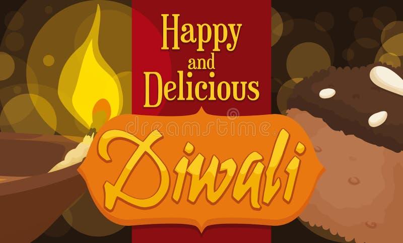 Εύγευστη σοκολάτα Barfi και επιδόρπιο Diya για τον εορτασμό Diwali, διανυσματική απεικόνιση ελεύθερη απεικόνιση δικαιώματος