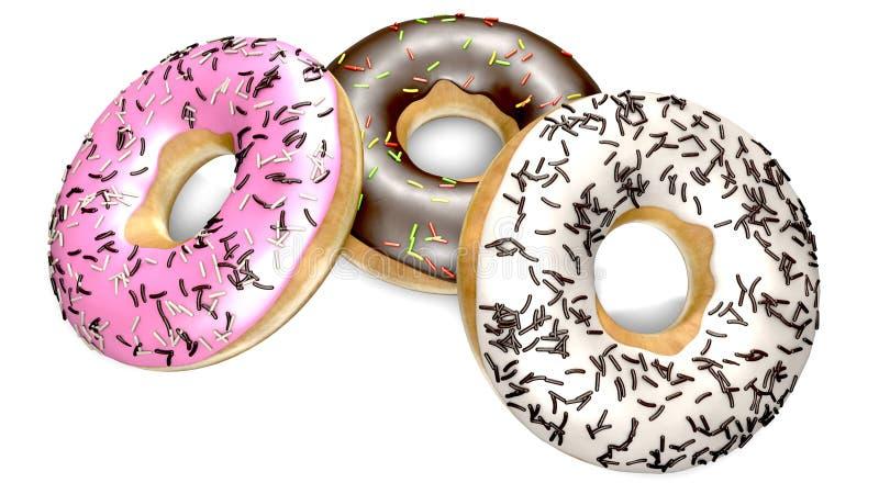 Εύγευστη σοκολάτα donuts και κρέμα στοκ εικόνες