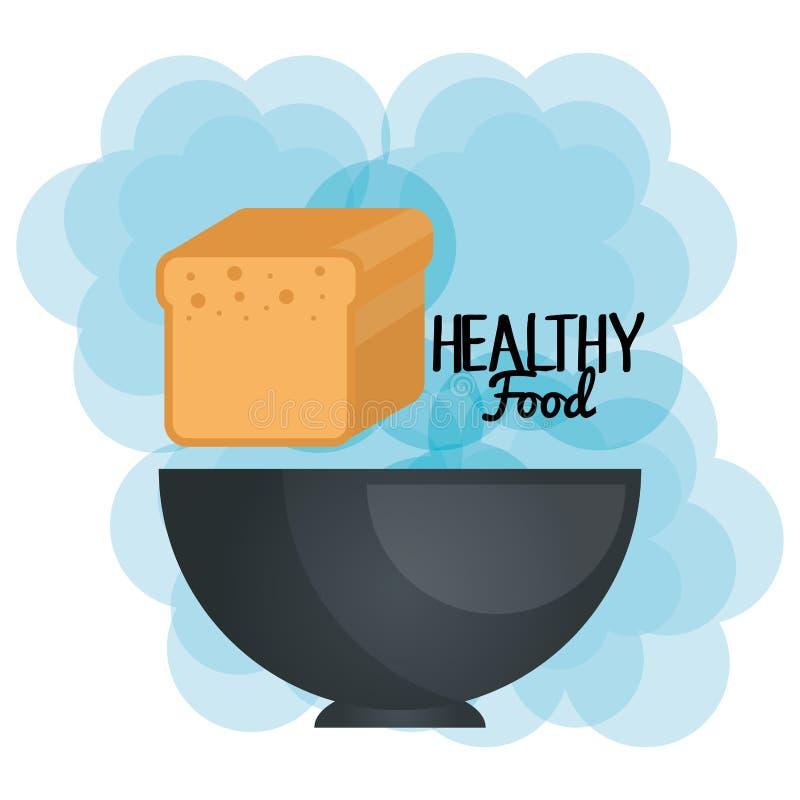 Εύγευστη φρυγανιά ψωμιού στα υγιή τρόφιμα κύπελλων ελεύθερη απεικόνιση δικαιώματος