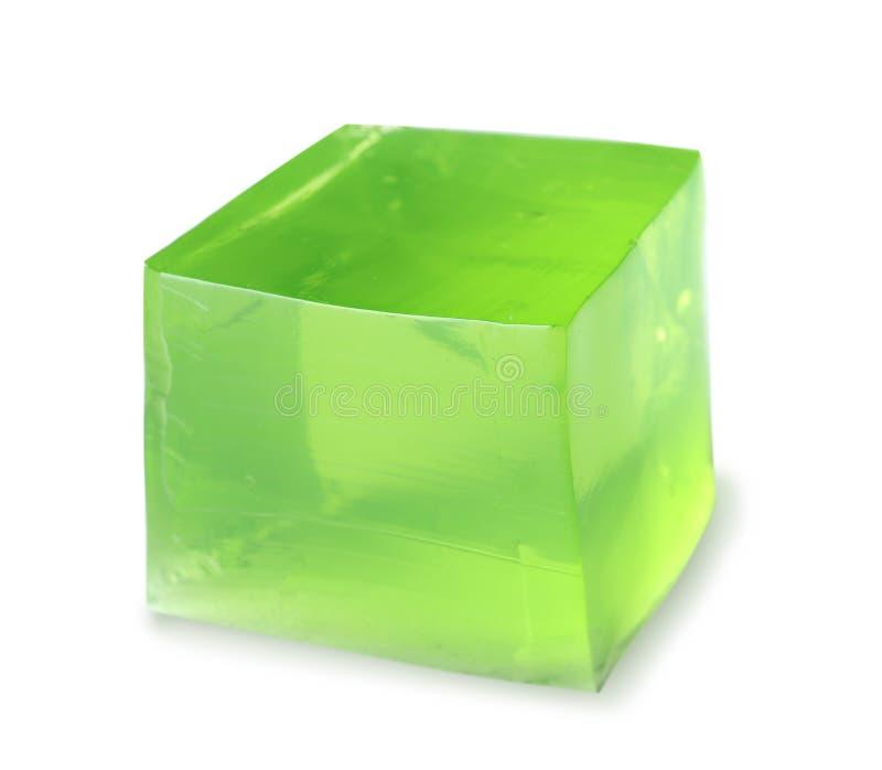 Εύγευστος πράσινος κύβος ζελατίνας στο λευκό στοκ εικόνες με δικαίωμα ελεύθερης χρήσης
