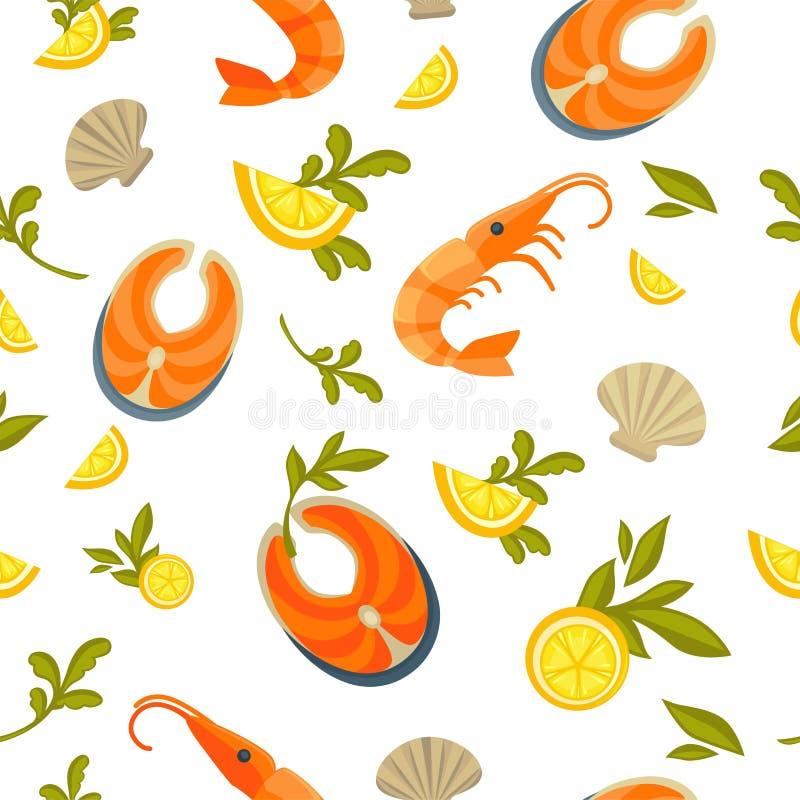 Εύγευστος σολομός, γαρίδες βασιλιάδων και εξωτικά στρείδια στο άνευ ραφής σχέδιο διανυσματική απεικόνιση