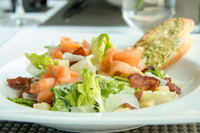 Εύγευστος σολομός με τη σαλάτα λαχανικών στο πιάτο στοκ εικόνα