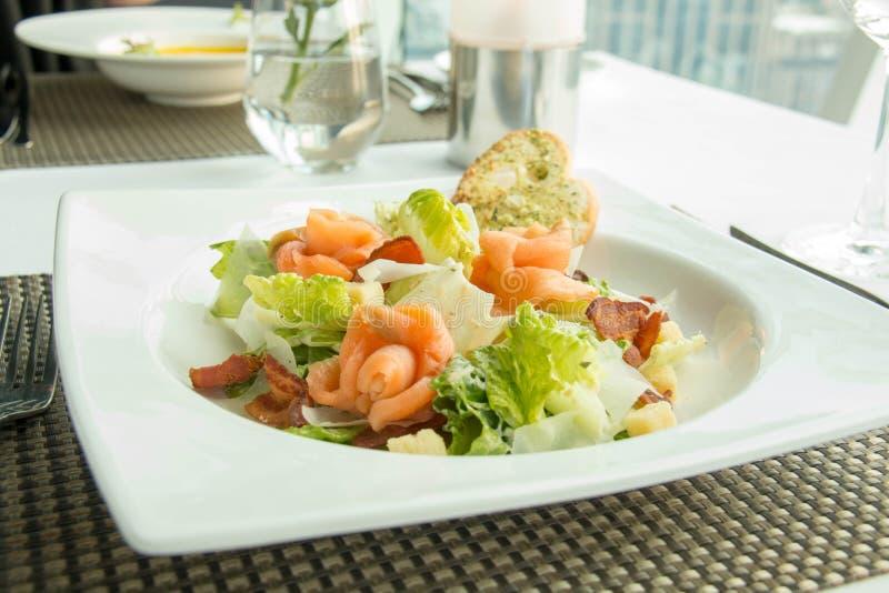 Εύγευστος σολομός με τη σαλάτα λαχανικών στο πιάτο στοκ εικόνες
