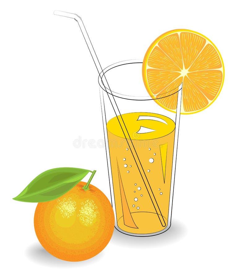 Εύγευστο αναζωογονώντας ποτό Σε ένα ποτήρι του φυσικού χυμού φρούτων, μια φέτα tangerine, πορτοκάλι r απεικόνιση αποθεμάτων